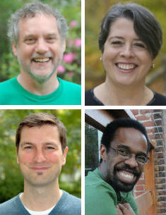 Clockwise from top left: Steve Chase, Eileen Flanagan, Matthew Armstead, and Michael Gagné